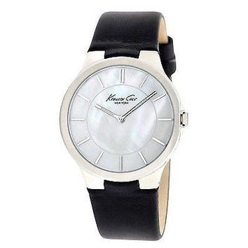 Kenneth Cole New York KC2706 Slim Round Pearl Dial Black Leather Women's Watch
