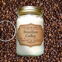 Brazilian Coffee 16oz Scented Candle | Fall scents, Mason Jar Candle, Coffee scent, Winter scent, Thanksgiving, Coffee candles, Coffee Lover