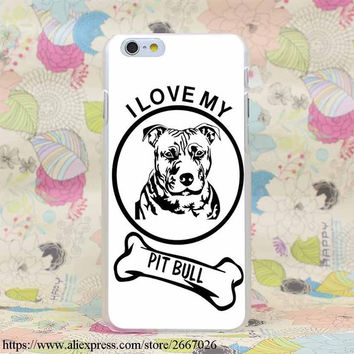 """Pitbull White With """"i Love My Pit Bull"""" and Bone Case for iPhone 7 7 Plus 6 6S Plus 5 5S SE 5C 4 4S"""