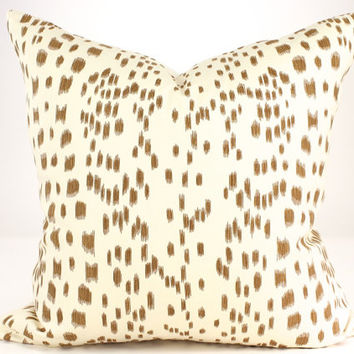 "Brunschwig & Fils  LES TOUCHES Animal Print, Leopard Pillow Cover, Accent Pillow in Tan Lumbars and 18"", 20"", 22"", 24"" sq."