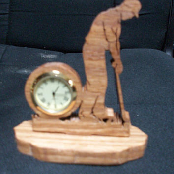 Wooden Male golfer  miniature desk  clock