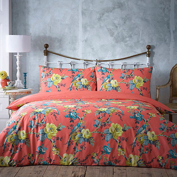 Coral 'Parrots' bedding set at debenhams.com
