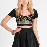 Golden Night Studded Crop Top - $28.00 : ThreadSence, Women's Indie & Bohemian Clothing, Dresses, & Accessories
