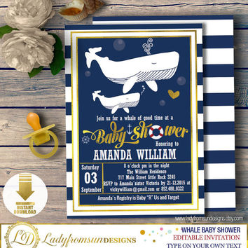 Whale Baby Shower ,Whale Baby Shower Invites, Whale Invitation,template, its a Boy, striped, Printable, Editable|DIY INSTANT DOWNLOAD