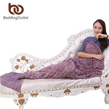 BeddingOutlet Handmade Yarn Knitted Mermaid Tail Blanket for Adult Kids Throw Bed Wrap Super Soft Crochet Warm Blanket 3 Sizes
