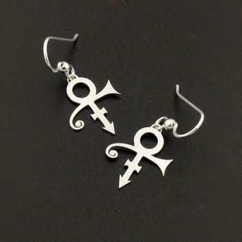 Prince symbol Earrings silver earring charm Hook earrings 925 Sterling Silver French Wire Earrings - Love symbol
