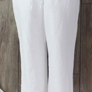 New Charter Club Linen Pants 16 size White Lined Womens Elastic Waist Vacation