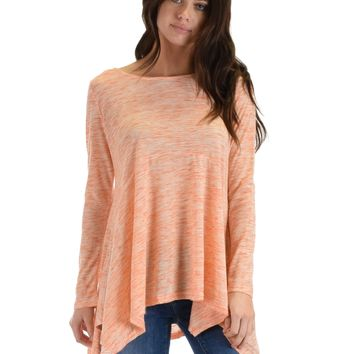 SL3635 Orange Long Sleeve Tunic Top With Handkerchief Hem