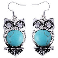 Owl Faux Turquoise Earrings