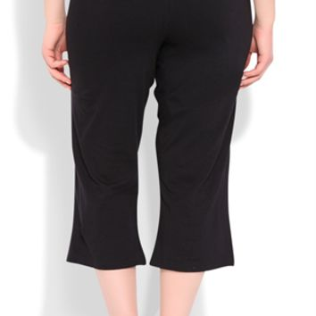 Plus Size Yoga Capri with Printed Lace Waistband with LOVE
