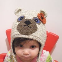 Girls Wool Bear Hat with Leopard Print lining, size 0-24 months, MADE TO ORDER.