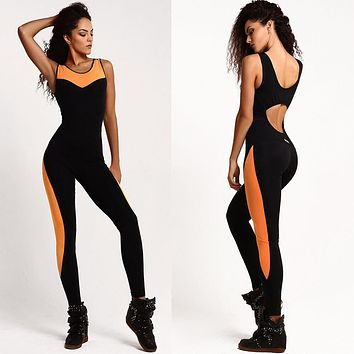Mesh Overall Fitting Yoga Sports Jumpsuit