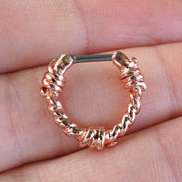 16 Gauge Rose Gold Barbed Wire Septum Ring Clicker Daith Ring Nose Piercing