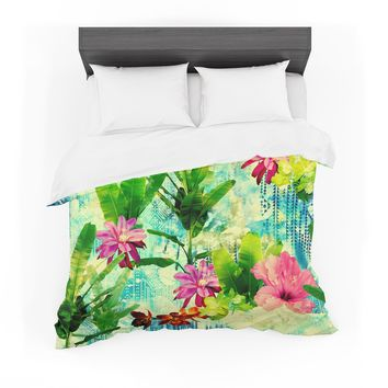 "Victoria Krupp ""Tropical Lagoon"" Green Blue Illustration Featherweight Duvet Cover"