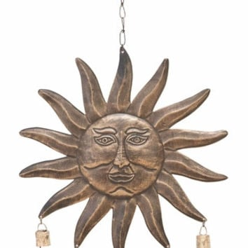 Sun Face Wind Chime With Five Small Bells By Benzara