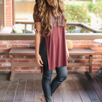 Leather Panel Tunic - Burgundy