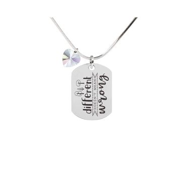 Inspirational Tag Necklace In AB Made With Crystals From Swarovski  - DIFFERENT
