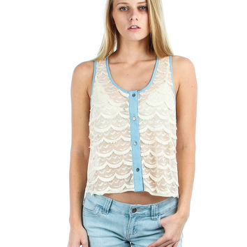 IVORY FINGE BUTTON UP TANK TOP
