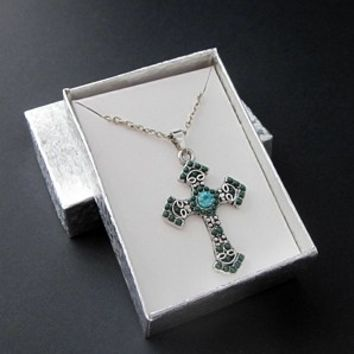 Green Blue Medium Cross Pendant Necklace Antiqued Silver 20 Inch Chain