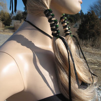 2 BLACK Leather Beaded Hair Wrap Ponytail Extension Green Glass Beads