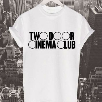Two Door Cinema Club Letters Women t shirt Cotton Casual Funny tshirts For Lady Top Tee Rock Black White Gray H-137