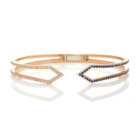 Rose Gold Hinged Ziggy Bracelet With Diamonds And Blue Sapphire | Moda Operandi