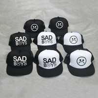 Trendy Winter Jacket Fashion SAD BOYS Print  Trucker Cap Men Baseball Hat Bone gorras Women sun hat sadboy   Black Flat Bill trucker hat AT_92_12