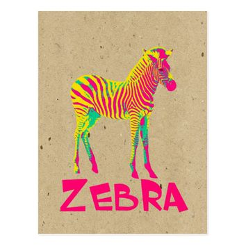 Baby Zebra Wild Psychedelic in Pink Yellow Green Postcard