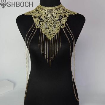 Lace Flower Collares Gold Body Chains Women Hollow out Big Gothic Necklace Multilayer chain Elegant Party Jewelry
