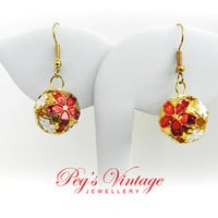 Christmas Metal Poinsettia Flower Earrings, Jingle Bell Balls, Pierced Vintage Earrings