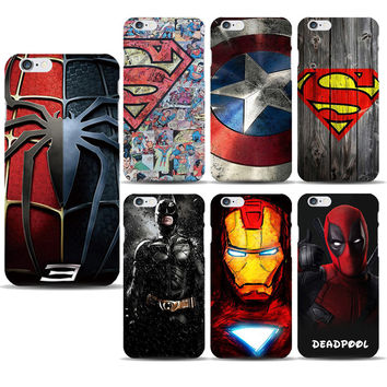 Superhero Collection Deadpool Spiderman Phone Case for capinhas iphone 7 Plus 5 5S 6 6S Ironman Batman Marvel Covers Accessories