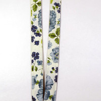 """Retractable Reel Floral Fabric Lanyard with breakaway and bling - 3/4"""" wide x 18"""" drop"""