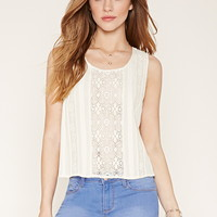 Crochet Lace-Paneled Blouse