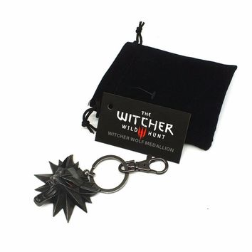 Witcher 3  Keychain Cartoon Video Game Wild Hunt Medallion Key Ring The Wild Hunt 3 Figure Game Wolf Head Alloy Key Chains