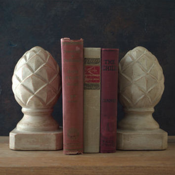 Vintage Clay Pottery Artichoke Bookend Shelf Decor