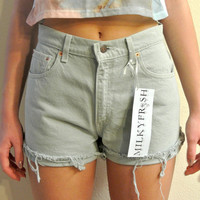 "High Waisted Size 4 Mint Green Levi's Cutoffs Milky Fr3sh ""Lola"""