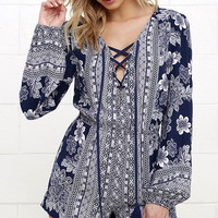 Flower Power Play Navy Blue Print Romper