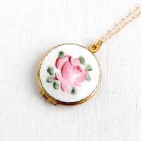 Vintage Enamel Guilloche Floral Locket- Gold Tone 1960s Round White and Pink Enamel Rose Jewelry