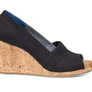 Black Linen Cork Women's Classic Wedges