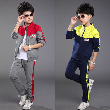 Cotton Baby Boys Clothes Sets Track Suit Kids Children Outerwear Clothing Sets For 5-14 Years Old