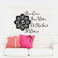 Wall Decals Quotes Vinyl Sticker Decal Art Home Decor Murals Buddha Quote Peace Comes From Within Lotus Flower Mandala Om Bedroom Dorm AN181