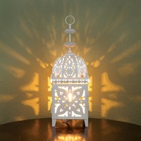 White Medallion Moroccan Style Table LED Candle Lantern
