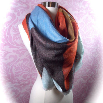 Multi color block scarf/blanket scarf/oversized scarf