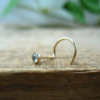Nose Screw Hook Stud Blue Topaz 3mm
