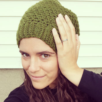 Slouchy Beanie Crochet Hat olive green