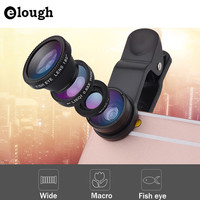 ELOUGH Fish eye universal 3 in 1 fisheye wide angle macro camera lens for xiaomi iphone 5 5s 6 6s fish eye mobile phone lens