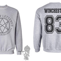 Winchester 83 Sam Winchester Men Of Letters Stamus Contra Malum Supernatural printed on Light Steel Crewneck Sweatshirt
