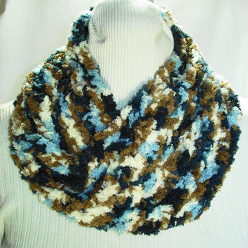 Crochet Cowl Blue Brown Cream Color Cowl Crochet Mobius Cowl Shell Stitch Infinity Cowl Acrylic Fur Yarn Cowl