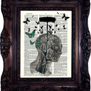 Anatomy Art. Anatomy head with Butterflies. Medical Print. Vintage Dictionary Art Print. Old Book Page.Art print. Dictionary Print. Code:056