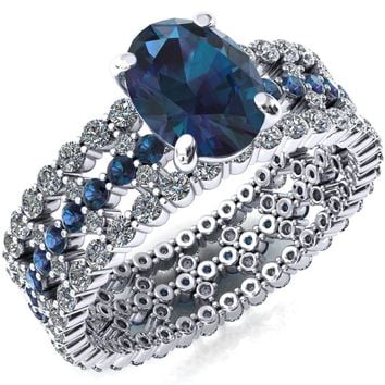 Lacy Oval Alexandrite Full Eternity Alexandrite and Diamond Accent Ring